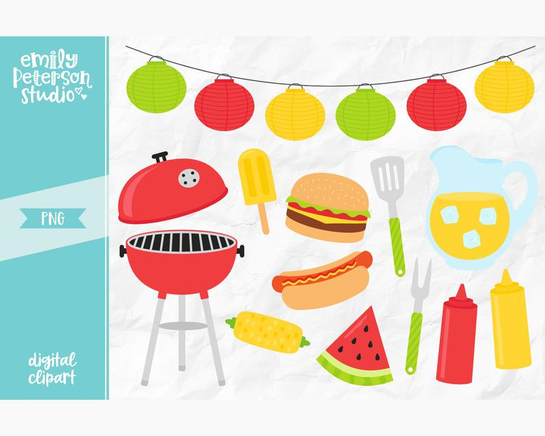 Summer BBQ Clip Art, Barbecue Clipart, Cook Out Clip Art.