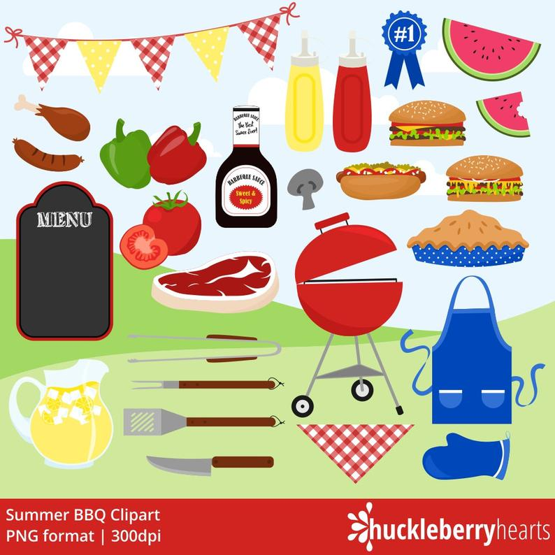 BBQ Clipart, Cookout Clipart, Grill Clipart, Hamburgers, Summer, Picnic,  Printable, Commercial Use.