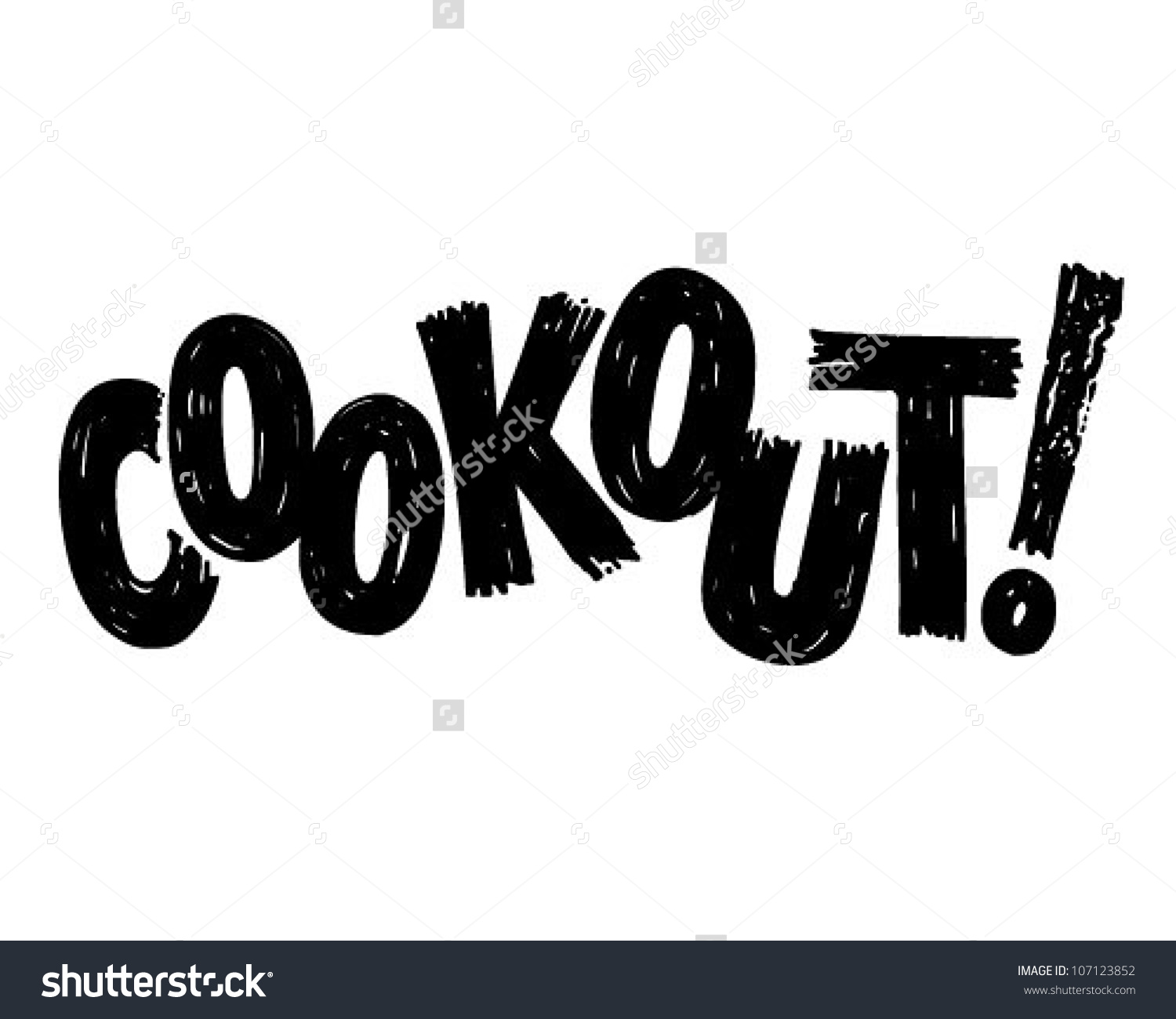 Cookout Banner Retro Clipart Illustration Stock Vector 107123852.