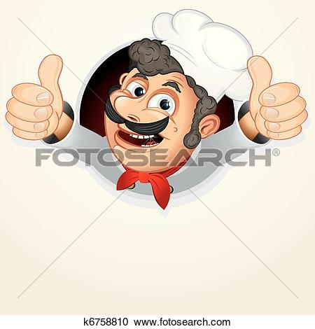 Clipart of Chef Cook showing Thumb up k6758810.