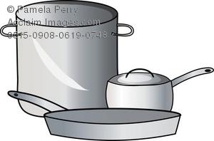 Clip Art Illustration of a Stock Pot, a Sauce Pan and a Frying Pan.
