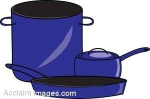 Kitchen pots and pans clipart.