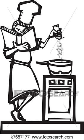 Chef with cookbook Clip Art.