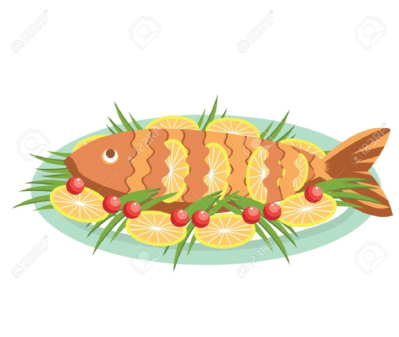 cooked fish with lemons.