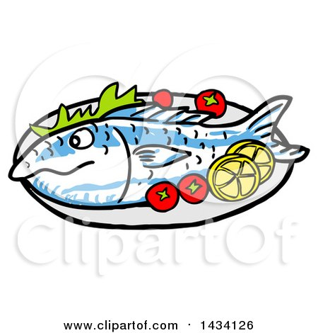 Clipart of a Cartoon Baked Fish with Tomatoes and Lemon Slices.