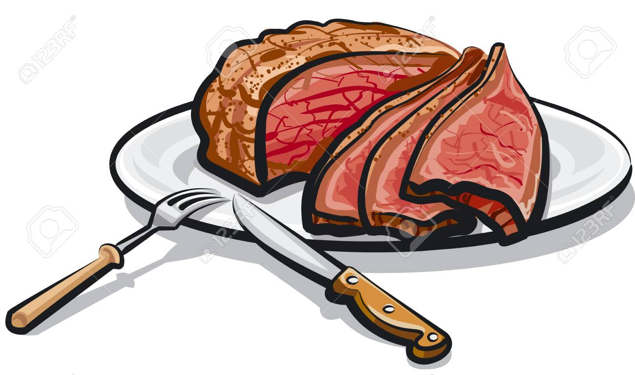 Illustration of cooked roast beef meat on plate.