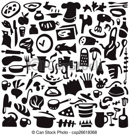 Clip Art Vector of Cookery icons set.