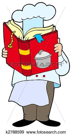 Stock Illustration of Chef reading cookery book k2788599.