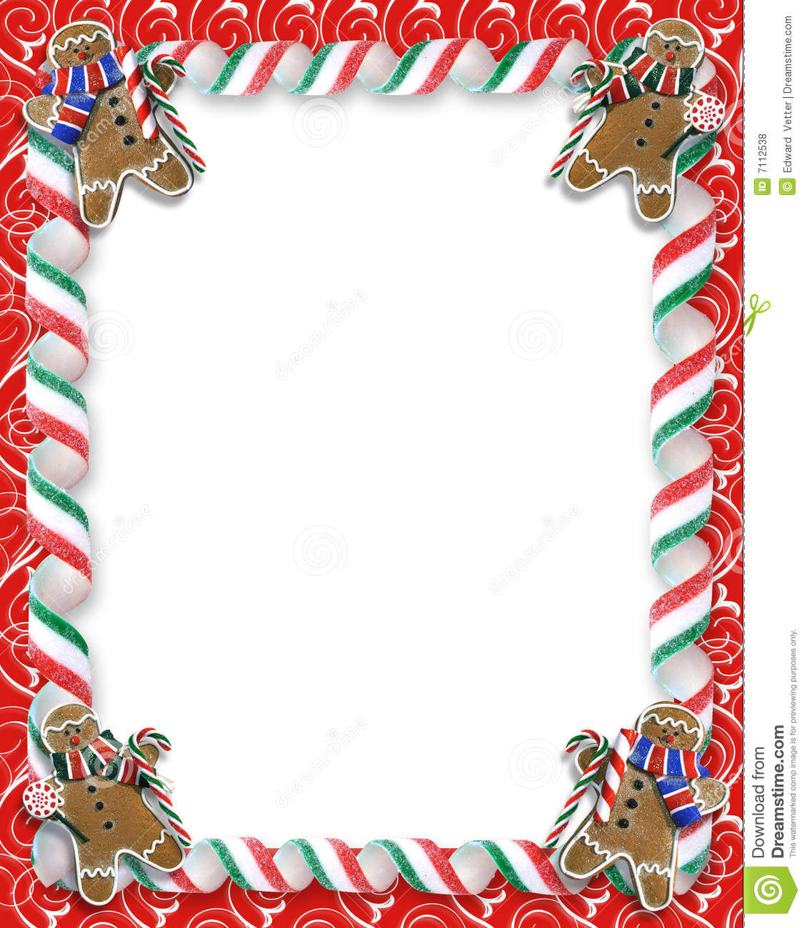 Christmas Border Cookies And Candy Stock Illustration.