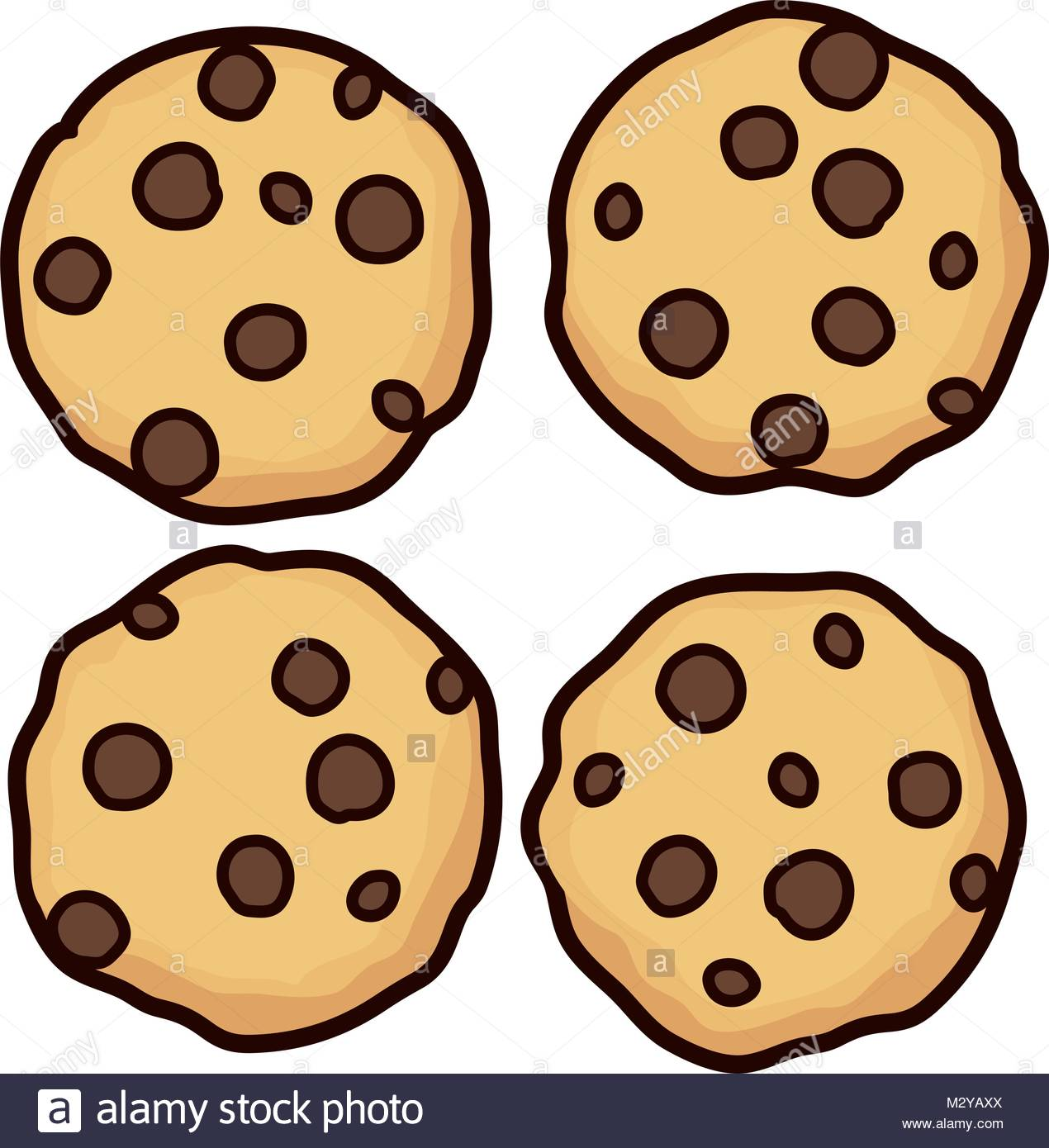 vector set of chocolate chip whole cookies isolated on white Stock.