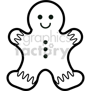 black and white gingerbread man cookie clipart . Royalty.