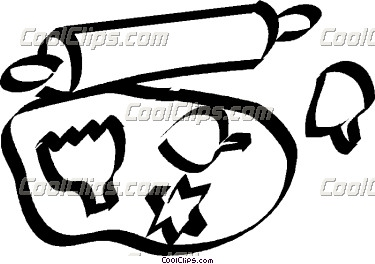rolling pin and cookie cutters Vector Clip art.