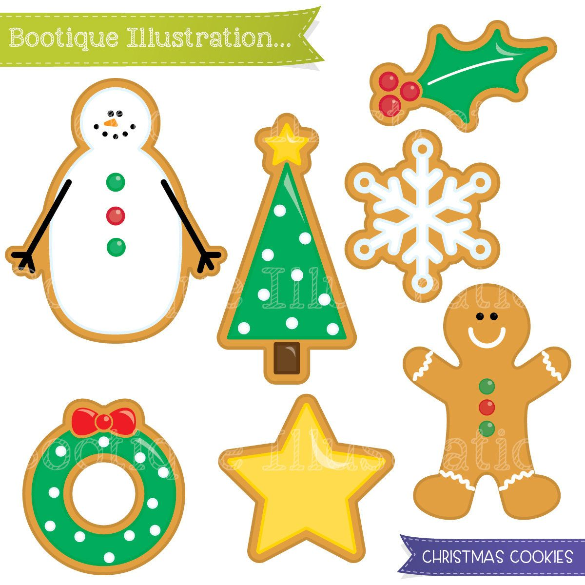 Christmas Cookies Clipart Set. Xmas Cookies Digital Clipart.
