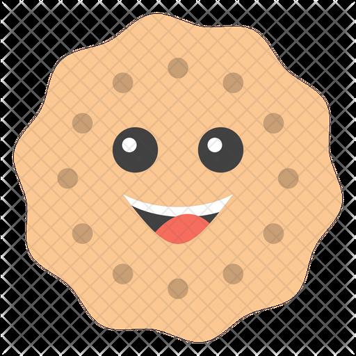 Smiley Cookie Emoji Icon.