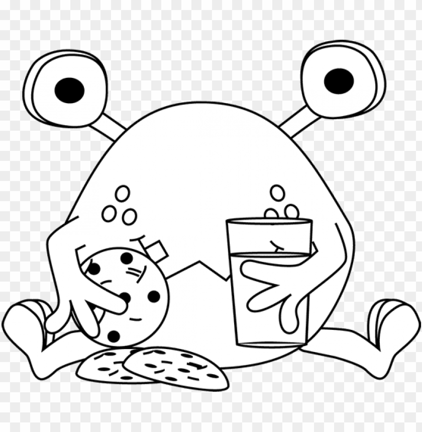 cookie monster cookie black and white clipart.