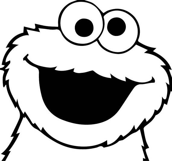Cookie Monster Clipart Black And White.