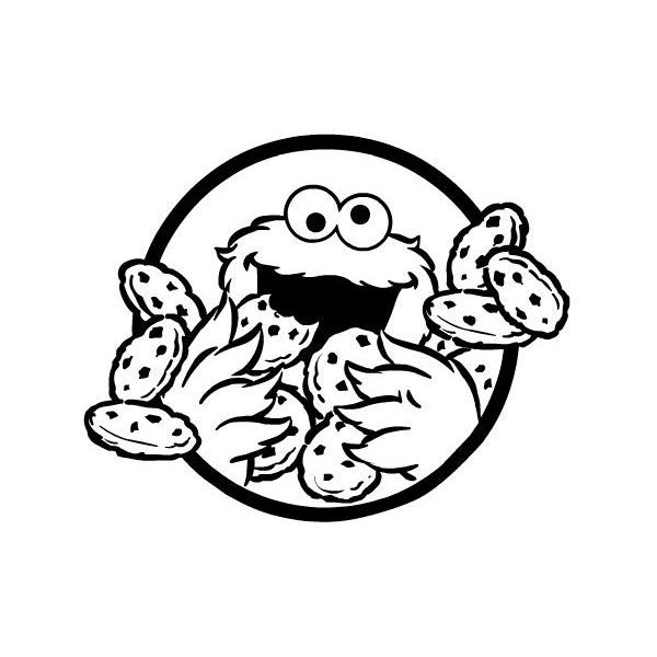 Cookie monster black and white clipart.