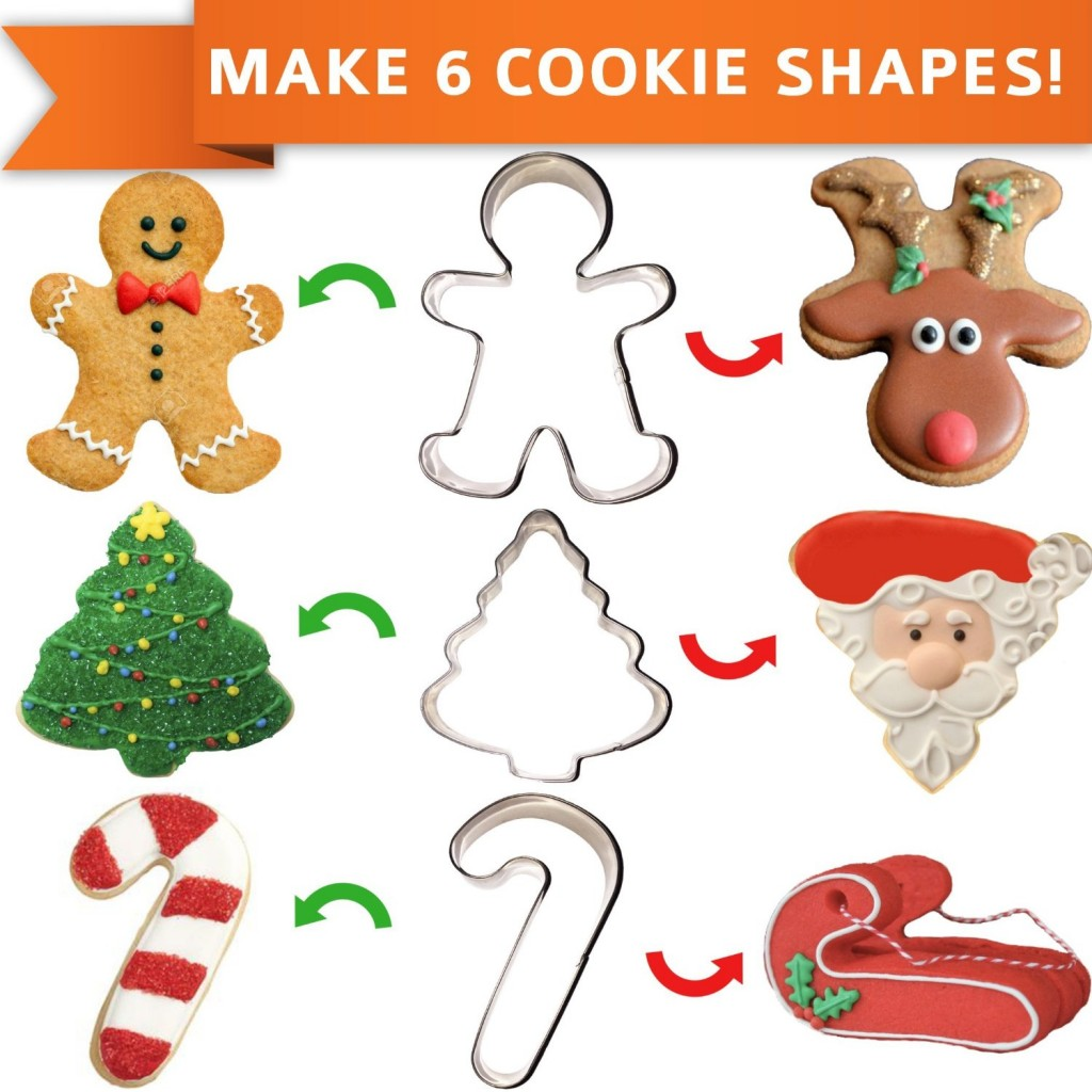 Set of 3 Christmas Cookie Cutters {Makes 6 Shapes}.