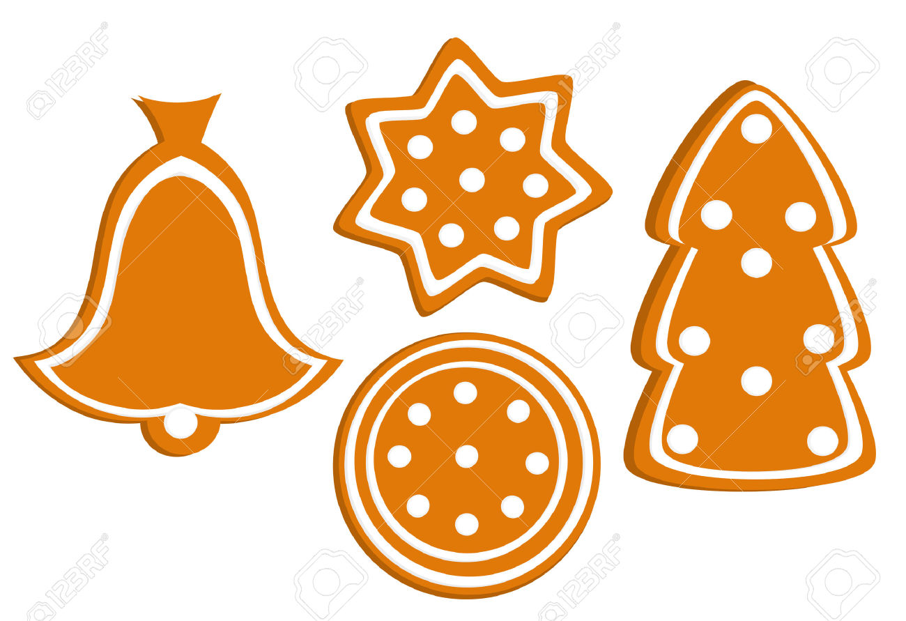 Variety Of Gingerbread Christmas Cookies Shapes Royalty Free.