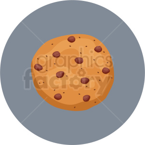 chocolate chip cookie vector flat icon clipart with circle background .  Royalty.