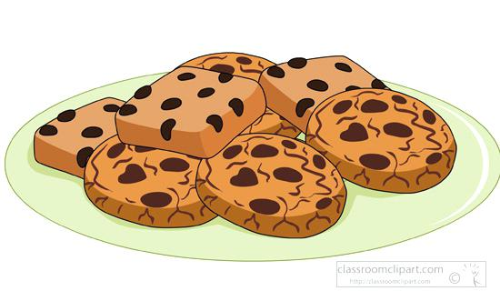 Plate Of Chocolate Chip Cookie Clipart.