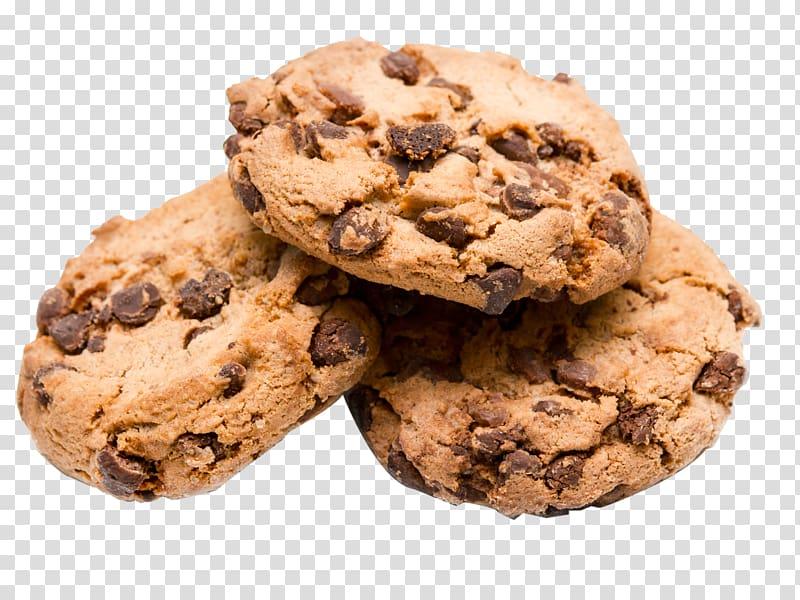 Three cookies, Chocolate chip cookie Bakery Chocolate.