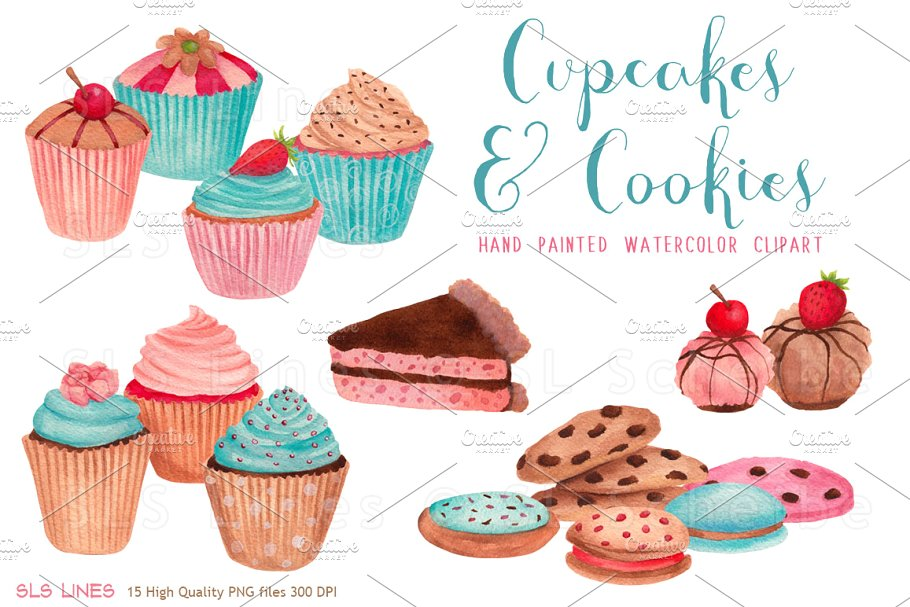 Cupcakes & Cookies Clipart ~ Illustrations ~ Creative Market.