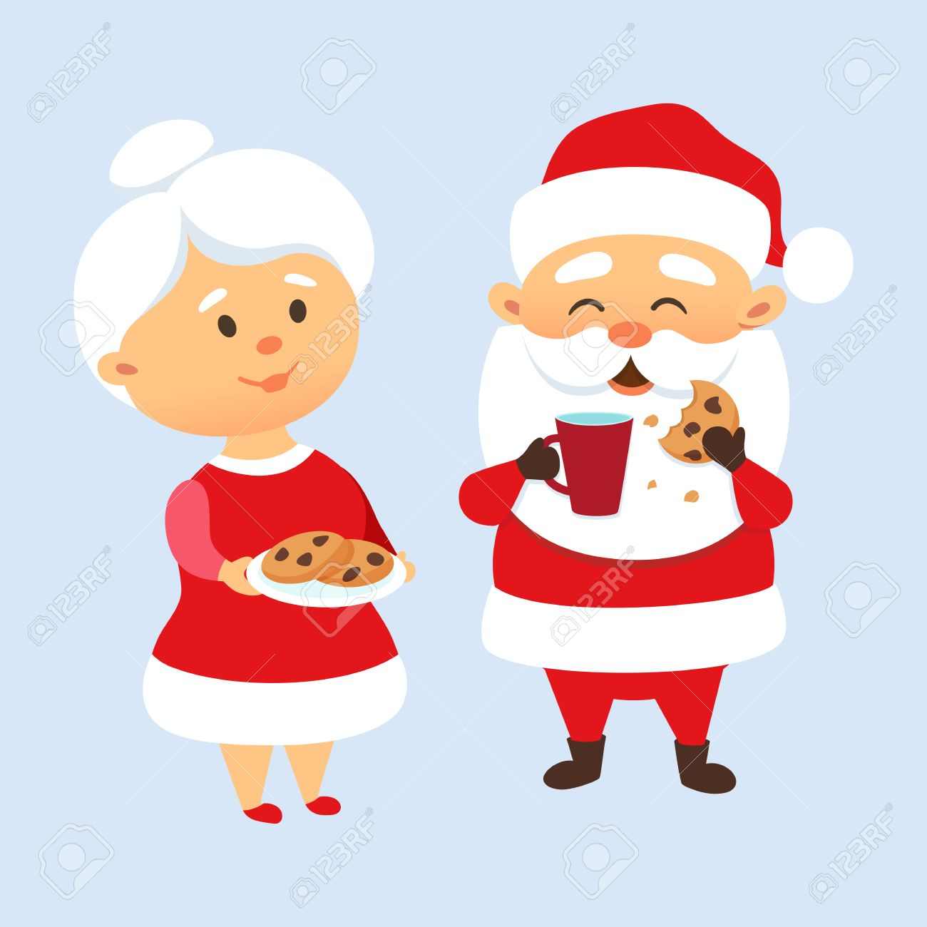 Santa Claus eating a cookies and drinking milk with his wife.