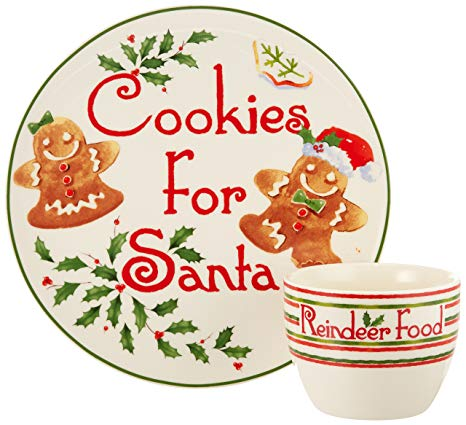 Lenox 2 Piece Countdown to Christmas for Santa Cookie Plate and Bowl Set,  Ivory.