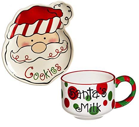 Cypress Home Sculpted Ceramic Cookies for Santa Plate and Mug Set.