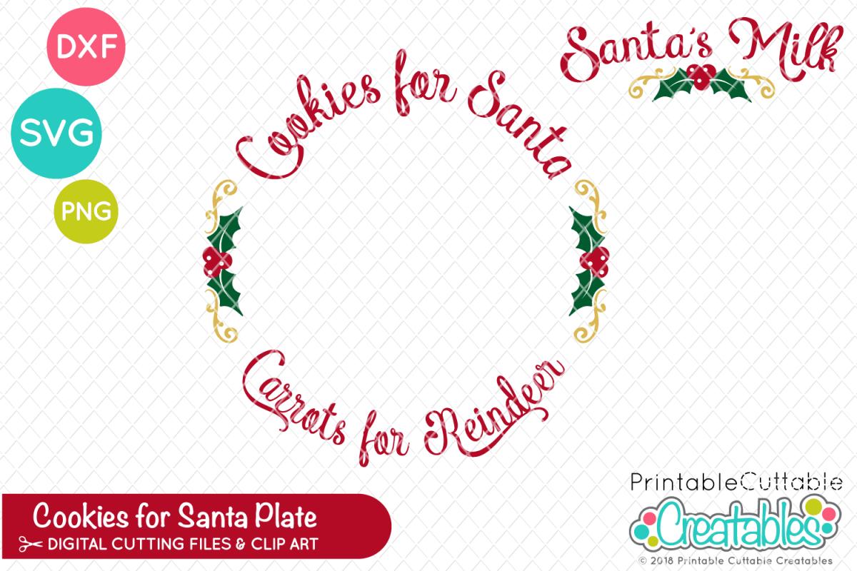 Cookies for Santa Plate SVG.