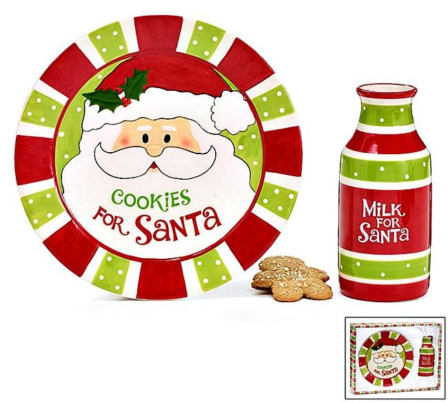 Santa's Cookie Plate/Milk Jug Set.