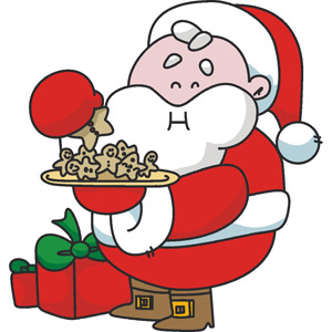 Santa Eating Cookies Clipart.