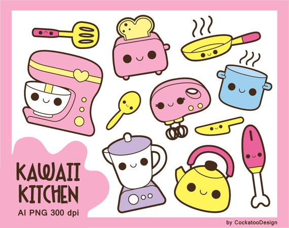 Kawaii kitchen clipart, kawaii cooking clip art, cute kitchen.