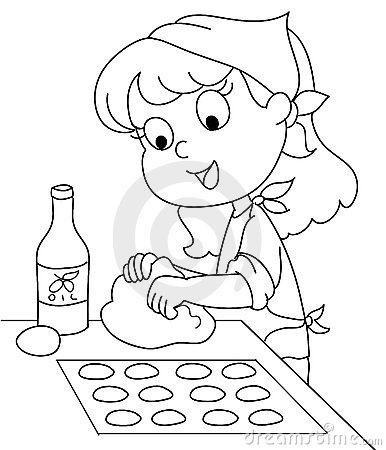 Cute Black And White Clipart Of Cooking.