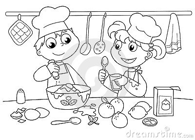 Mother And Child Cooking Clipart Black And White.