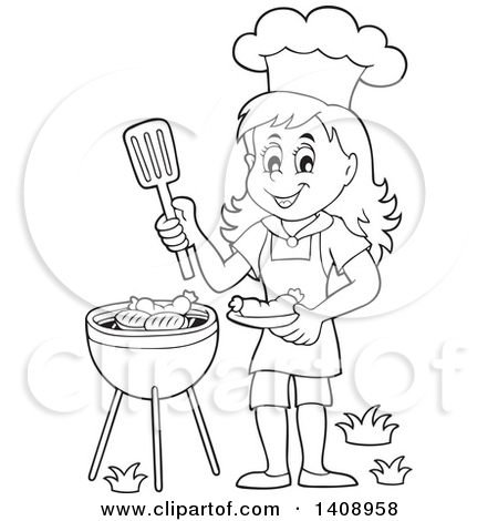 Similiar Black And White Clip Art Girl Cooking Keywords.