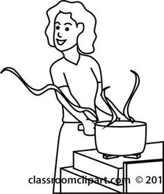Black And White Cooking Clipart.