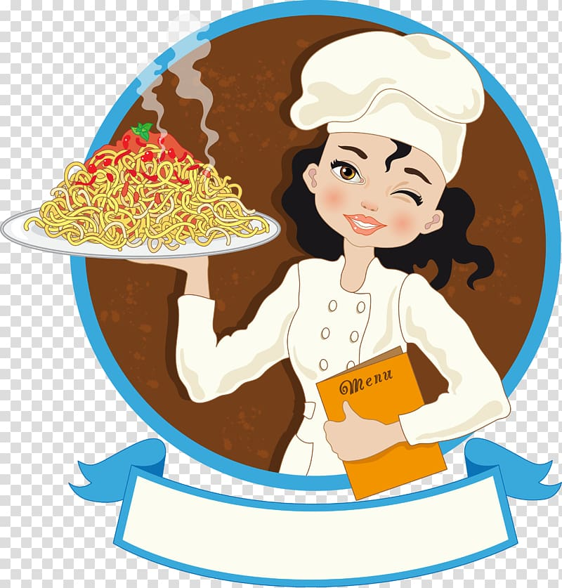Woman holding a tray of spaghetti , Chef Cook , chef holding.