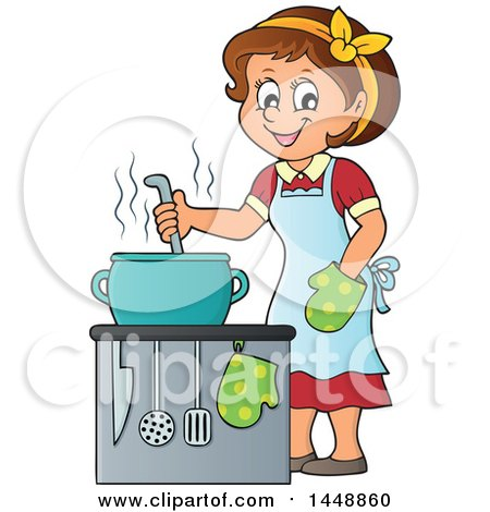 Clipart of a Cartoon Happy Brunette Housewife Cooking.