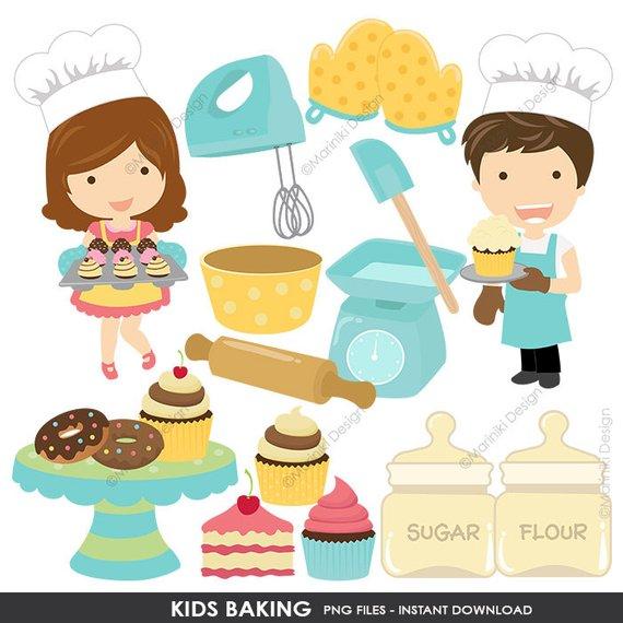Baking Clip Art, Kids Baking Clipart, Kitchen Cooking Kids.