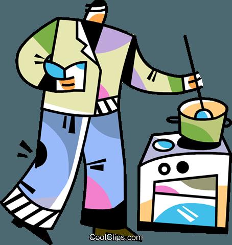 Man cooking dinner Royalty Free Vector Clip Art illustration.