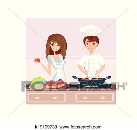 Couple cooking dinner Clip Art.