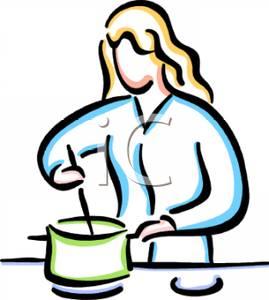 A Woman Making Dinner Clip Art.