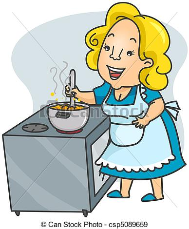 Stock Illustration of Cooking Mom.