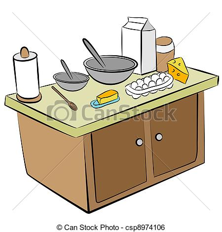 Clip Art Vector of Cooking Tools and Ingredients.