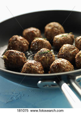 Stock Image of Cooking meatballs in a frying pan 181075.