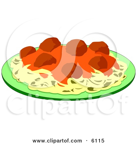 Spaghetti, Meatballs and Marinara Italian Food on a Plate Clipart.