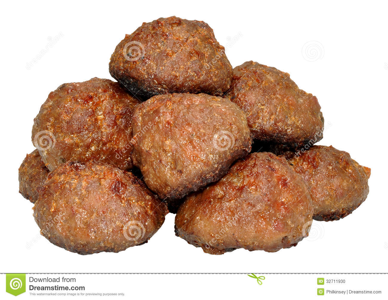 Cooked Meat Balls Stock Photo.