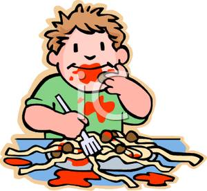 Colorful Cartoon of a Boy Eating Spaghetti and Meatballs and.